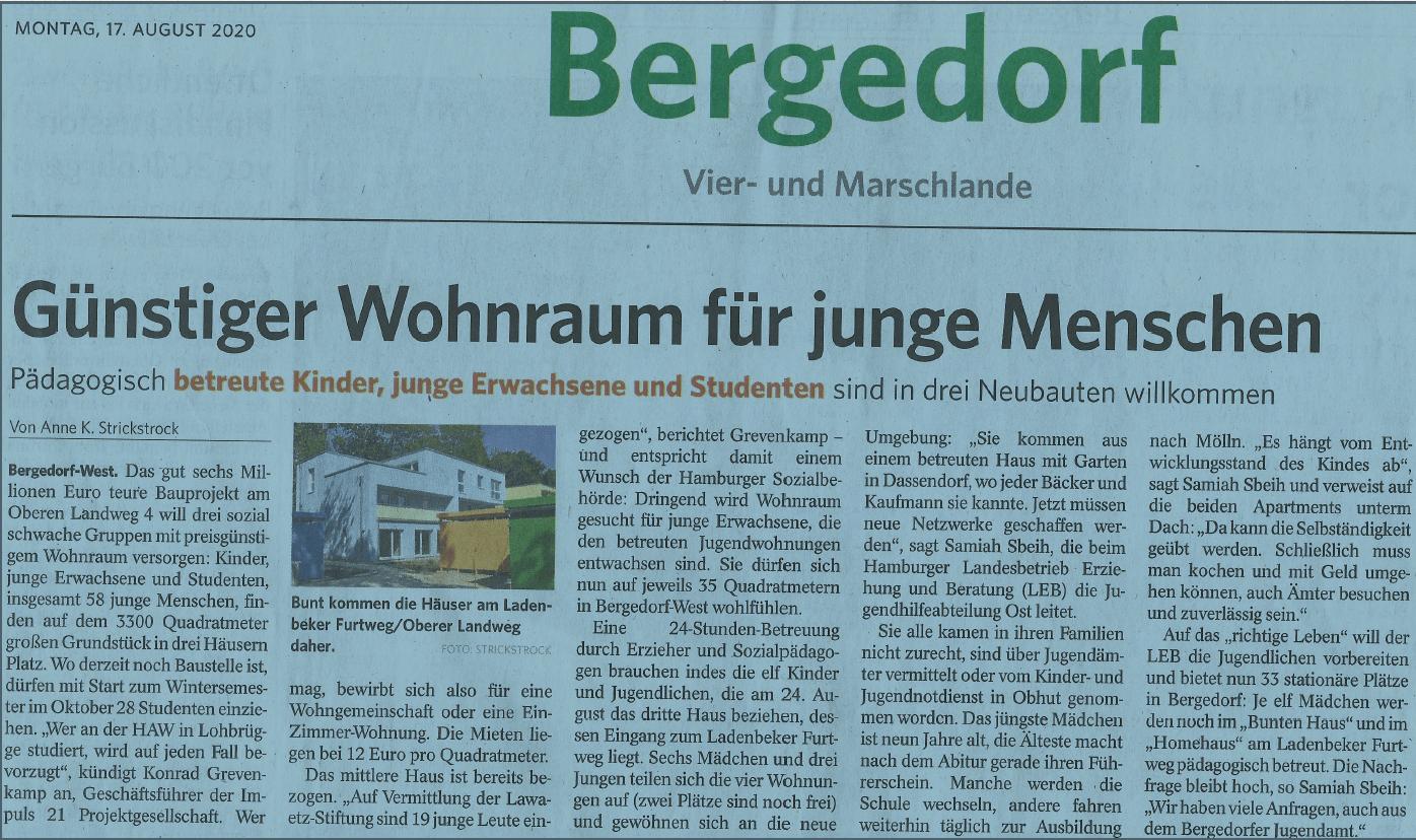 Bergedorfer Zeitung, 17. August 2020