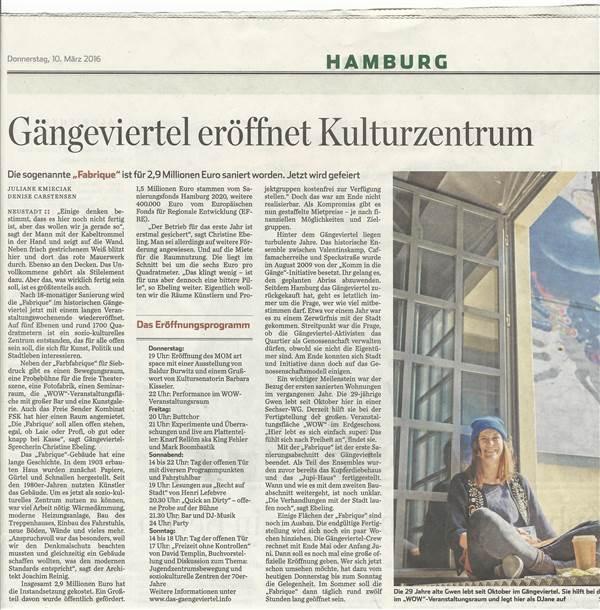 Hamburger Abendblatt 10. 3. 2016